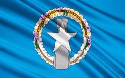 Vlag van Noordelijke Mariana Islands de V.S., Saipan - Micronesië stock afbeeldingen