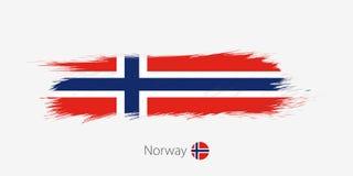 Vlag van Noorwegen, grunge abstracte kwaststreek op grijze achtergrond vector illustratie