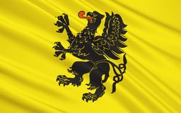 Vlag van Pomeranian Voivodeship in north-central Polen Stock Foto's