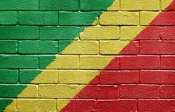 Vlag van Republiek de Kongo op bakstenen muur stock afbeeldingen