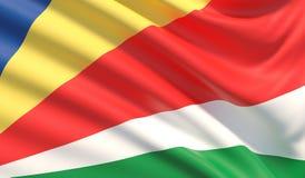 Vlag van Seychellen Gegolfte hoogst gedetailleerde stoffentextuur 3D Illustratie royalty-vrije illustratie