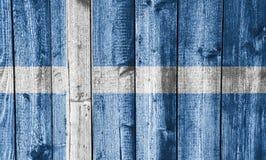 Vlag van Shetland-eilanden op doorstaan hout vector illustratie