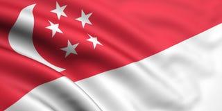 Vlag van Singapore Royalty-vrije Stock Fotografie