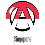 Vlag van Singapore van de wereld in de vorm van een teken van anarchie royalty-vrije illustratie