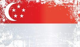 Vlag van Singapore Gerimpelde vuile vlekken royalty-vrije illustratie