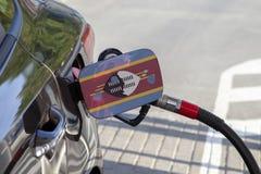 Vlag van Swasiland op de de vullerklep van de auto` s brandstof royalty-vrije stock afbeelding