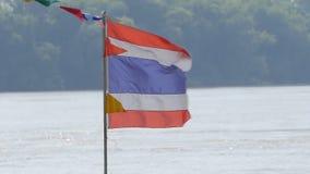 Vlag van Thailand in de wind stock footage