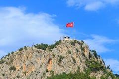 Vlag van Turkije in Kemer, Turkije Royalty-vrije Stock Afbeelding