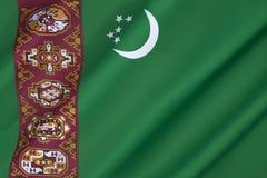 Vlag van Turkmenistan Stock Foto's