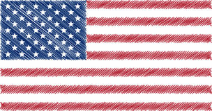 Vlag van V.S., potlood die vectorillustratie de trekken Stock Foto