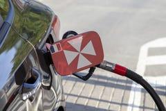 Vlag van Wallis op de de vullerklep van de auto` s brandstof stock foto