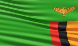 Vlag van Zambia Gegolfte hoogst gedetailleerde stoffentextuur 3D Illustratie stock illustratie
