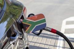 Vlag van Zuid-Afrika op de de vullerklep van de auto` s brandstof royalty-vrije stock afbeeldingen
