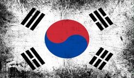 Vlag van Zuid-Korea De patriottische oude achtergrond van de grunge uitstekende textuur royalty-vrije illustratie