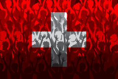 Vlag van Zwitserland over het Steunen van ventilators stock illustratie