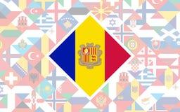 Vlagachtergrond van Europese landen met grote vlag van Andorra i vector illustratie