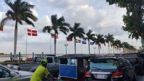Vlaggen bij Mekong Delta stock foto