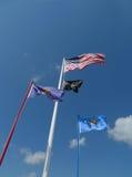 Vlaggen die bij VFW-Post 4518, Sallisaw vliegen, O.K. Royalty-vrije Stock Afbeelding