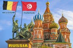 Vlaggen die van België en Tunesië door twee strijders op een standbeeld worden gehouden royalty-vrije stock fotografie