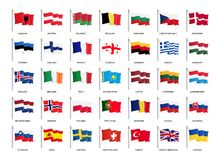 Vlaggen die van Europa, in de wind golven - de Vectorwereld markeert inzameling royalty-vrije illustratie