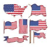 Vlaggen en kaart van de Verenigde Staten van Amerika, pictograminzameling, vectorillustratie Stock Fotografie