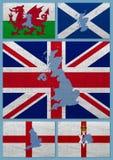 Vlaggen en kaarten van de landen van het Verenigd Koninkrijk Stock Foto's