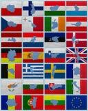 Vlaggen en kaarten van Europese Unie Royalty-vrije Stock Foto's