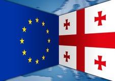 Vlaggen Europa en Georgië Royalty-vrije Stock Foto's