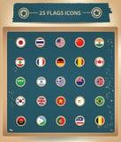 25 vlaggen Nationale pictogrammen Royalty-vrije Stock Foto's