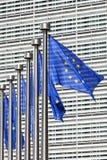 Vlaggen op de Europese Commissie in Brussel Royalty-vrije Stock Afbeelding