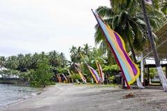 Vlaggen op een strand Stock Afbeeldingen