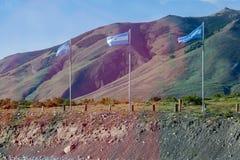 Vlaggen Patagonië Argentinië Stock Afbeeldingen