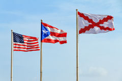 Vlaggen Puerto Rico stock afbeelding