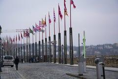 Vlaggen in Royal Palace Boedapest royalty-vrije stock afbeeldingen