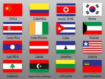 Vlaggen van alle landen van werelddeel 6 Royalty-vrije Stock Foto's
