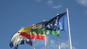 Vlaggen van Andalusia, Malaga, Spanje en de EU stock videobeelden