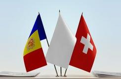 Vlaggen van Andorra en Zwitserland stock illustratie