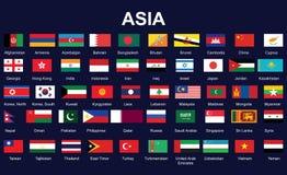 Vlaggen van Azië Royalty-vrije Stock Afbeeldingen