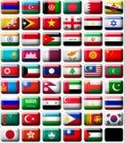 Vlaggen van Azië Stock Afbeelding