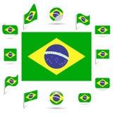 Vlaggen van Brazilië. Royalty-vrije Stock Afbeelding