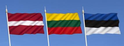 Vlaggen van de Baltische staten stock afbeelding