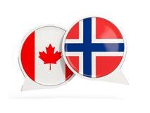 Vlaggen van de bellen van het de binnenkantpraatje van Canada en van Noorwegen stock illustratie