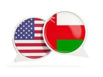 Vlaggen van de bellen van het de binnenkantpraatje van Verenigde Staten en van Oman royalty-vrije stock afbeelding