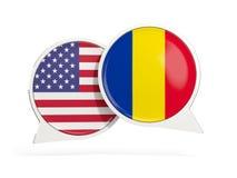 Vlaggen van de bellen van het de binnenkantpraatje van Verenigde Staten en van Roemeni? royalty-vrije stock foto's