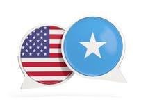 Vlaggen van de bellen van het de binnenkantpraatje van Verenigde Staten en van Somali? royalty-vrije stock foto