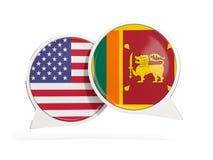 Vlaggen van de bellen van het de binnenkantpraatje van Verenigde Staten en van Sri Lanka royalty-vrije stock afbeeldingen