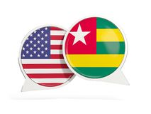 Vlaggen van de bellen van het de binnenkantpraatje van Verenigde Staten en van Togo royalty-vrije stock fotografie
