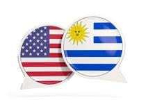 Vlaggen van de bellen van het de binnenkantpraatje van Verenigde Staten en van Uruguay stock fotografie