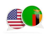 Vlaggen van de bellen van het de binnenkantpraatje van Verenigde Staten en van Zambia royalty-vrije stock foto
