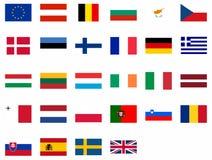 Vlaggen van de Europese Unie Stock Foto's